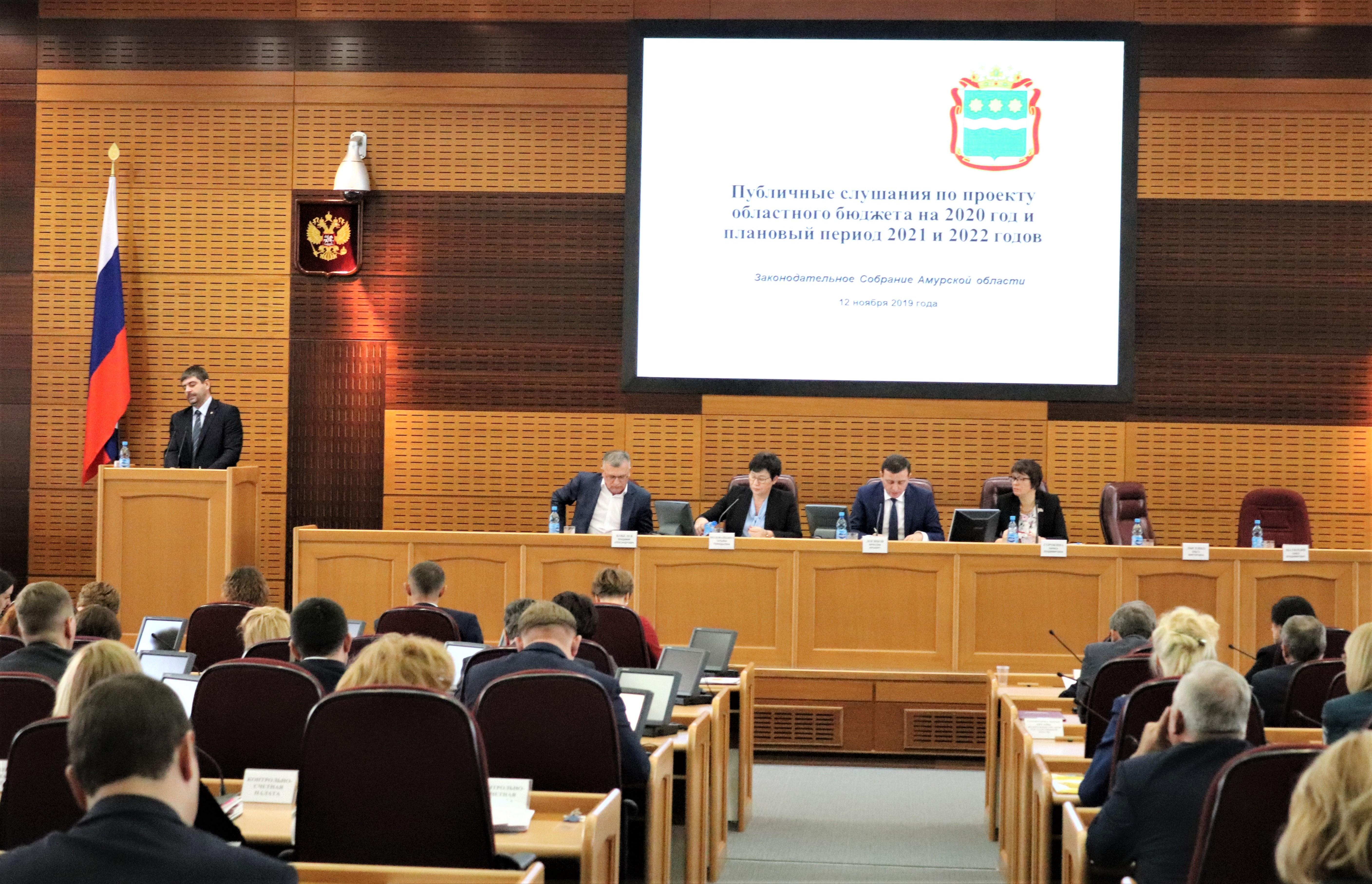 Члены Общественной палаты Амурской области приняли участие в публичных слушаниях по проекту областного бюджета на 2020 год и плановый период 2021 и 2022 годов